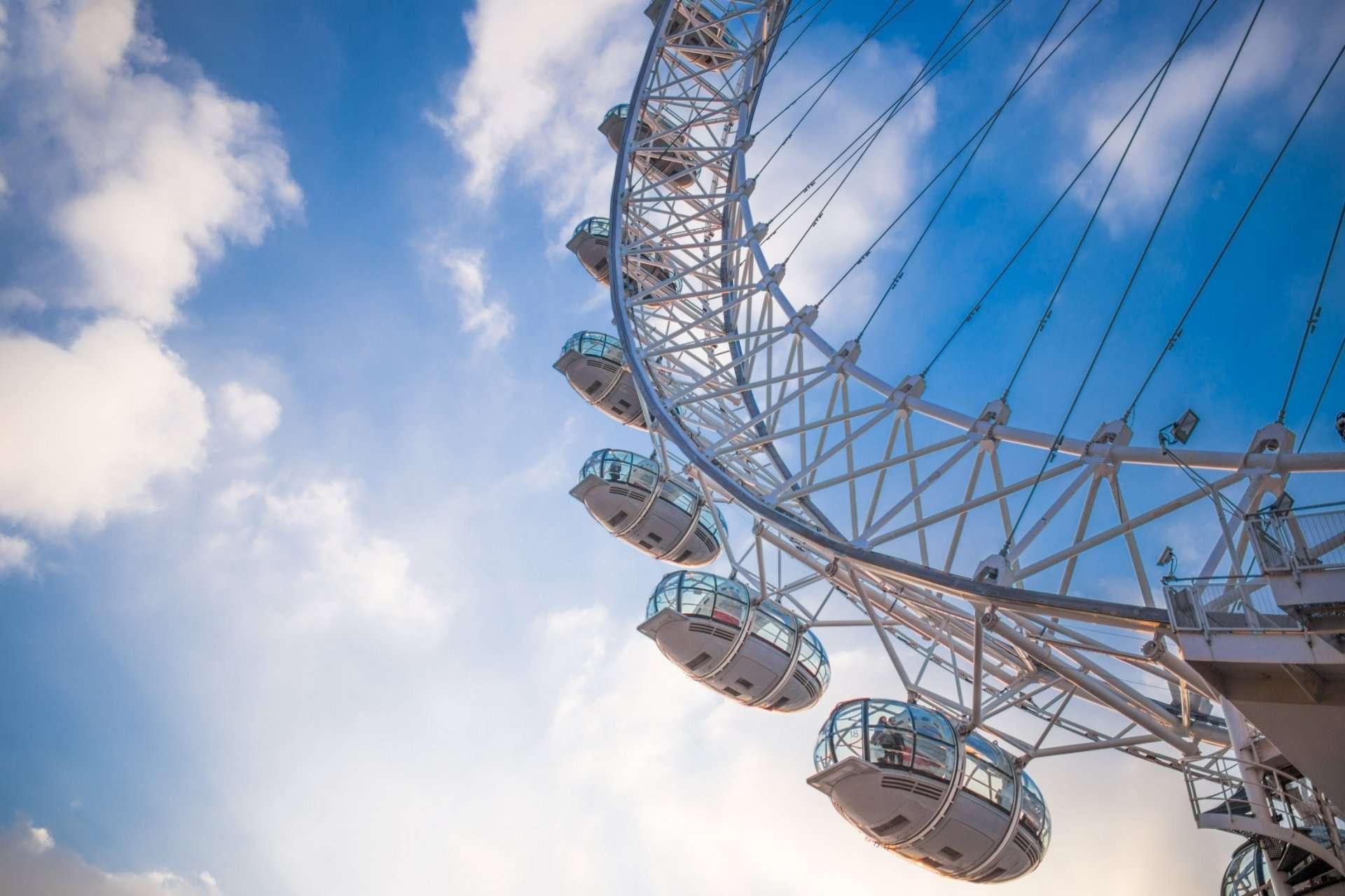 the London Eye on a blue sky day